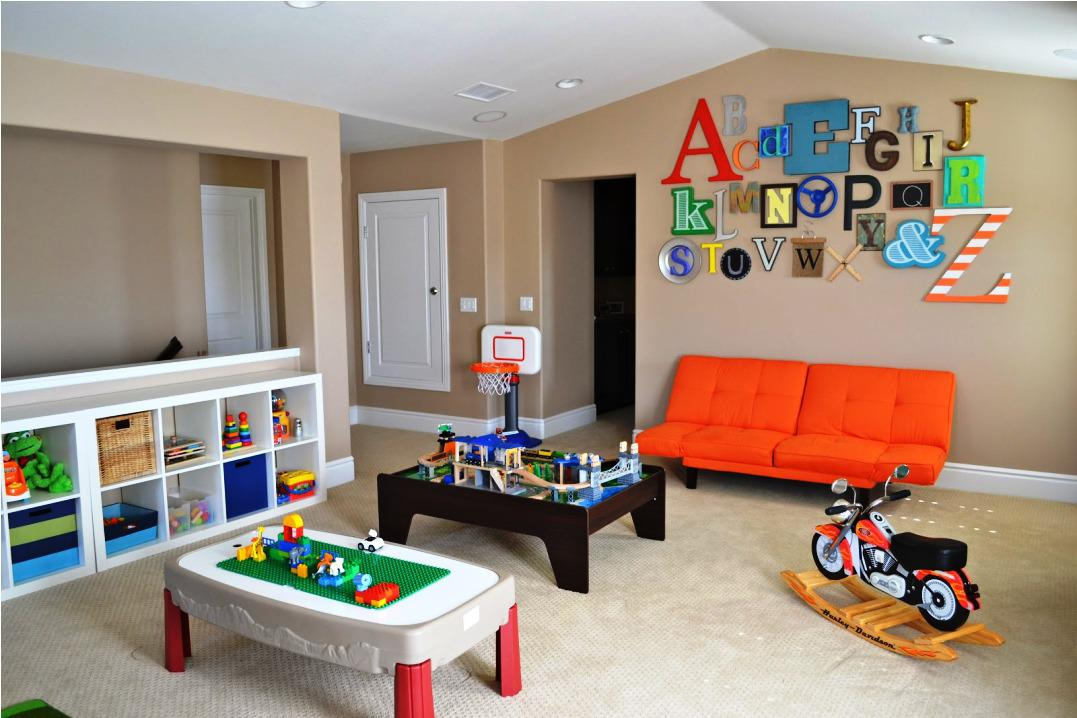 Colorful Alphabeth Letters as Wall Ornament Completing Boys Play Room Ideas with Orange Tufted Sofa