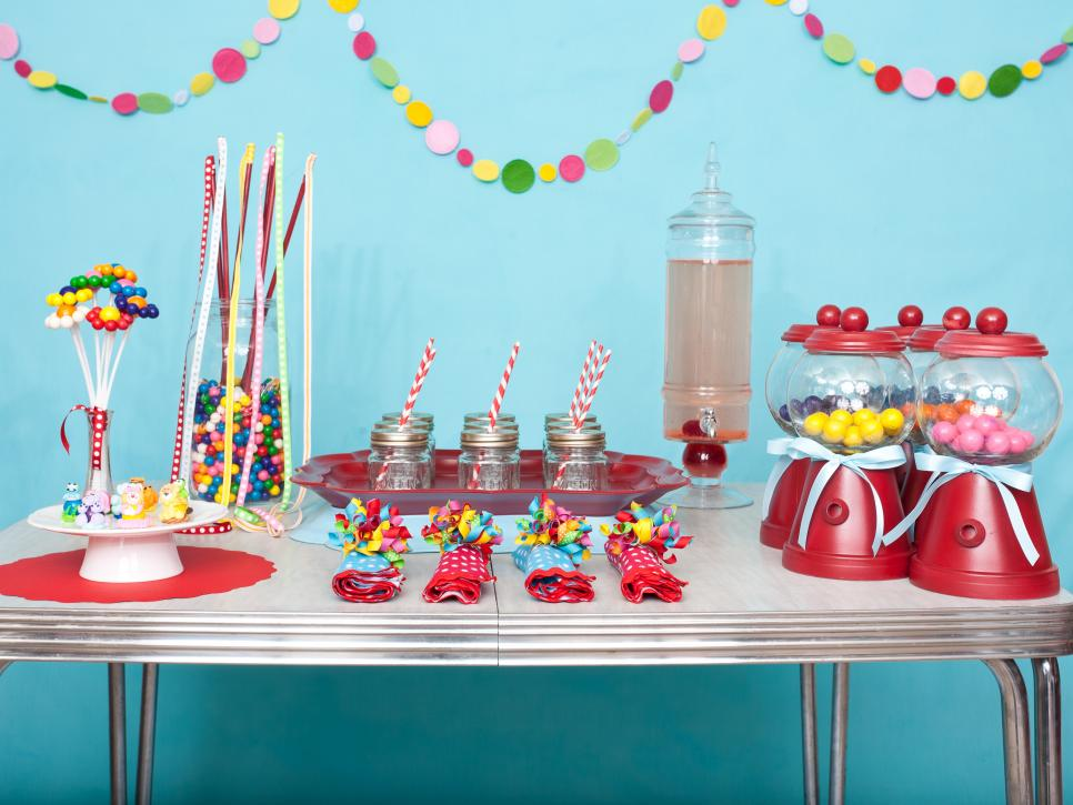 Beau Colorful DIY Party Decoration With Candies And Cakes Displayed On Table