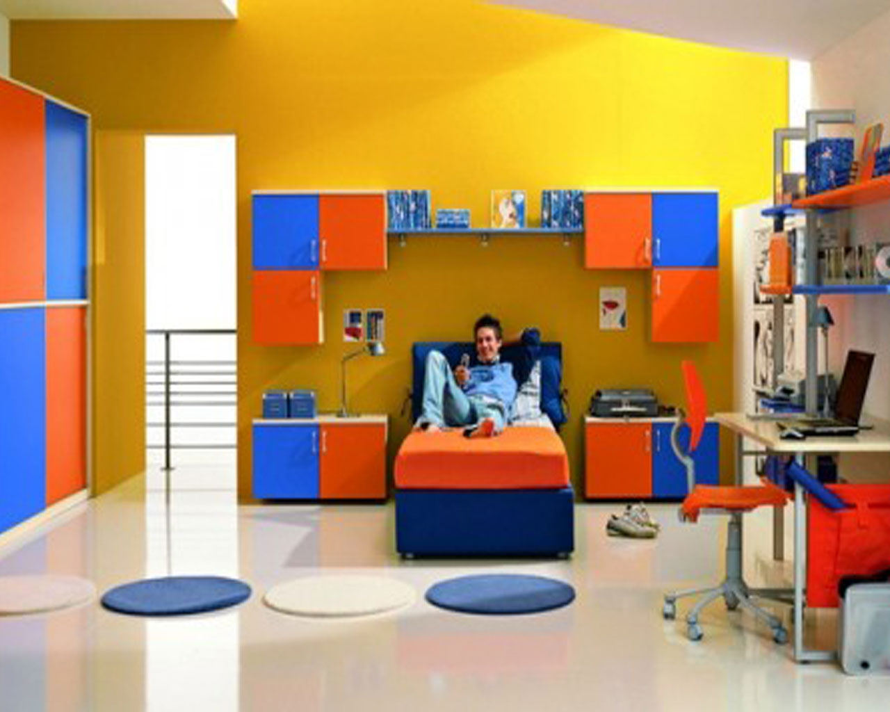 Colorful Kids Bedroom Idea with Yellow Wall, Orange and Blue Shelving
