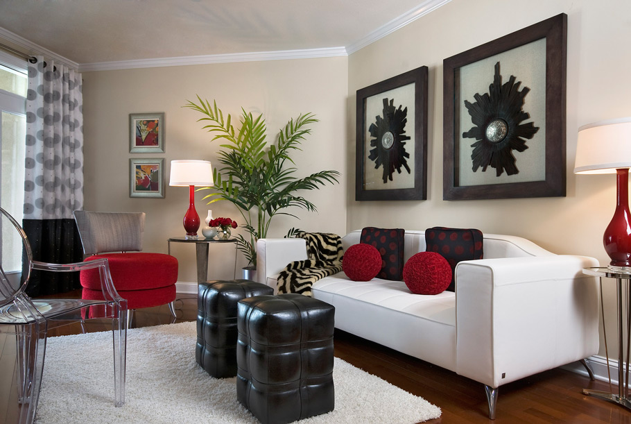 Combine Dark Leather Ottomans and Red Chair near Acrylic Chair for Elegant Sitting Room Decorating Ideas