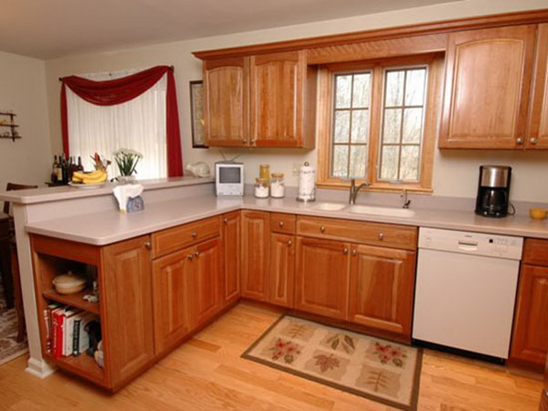 Combine Oak Kitchen Cabinet Ideas and Granite Top for Minimalist Kitchen with Laminate Hardwood Flooring