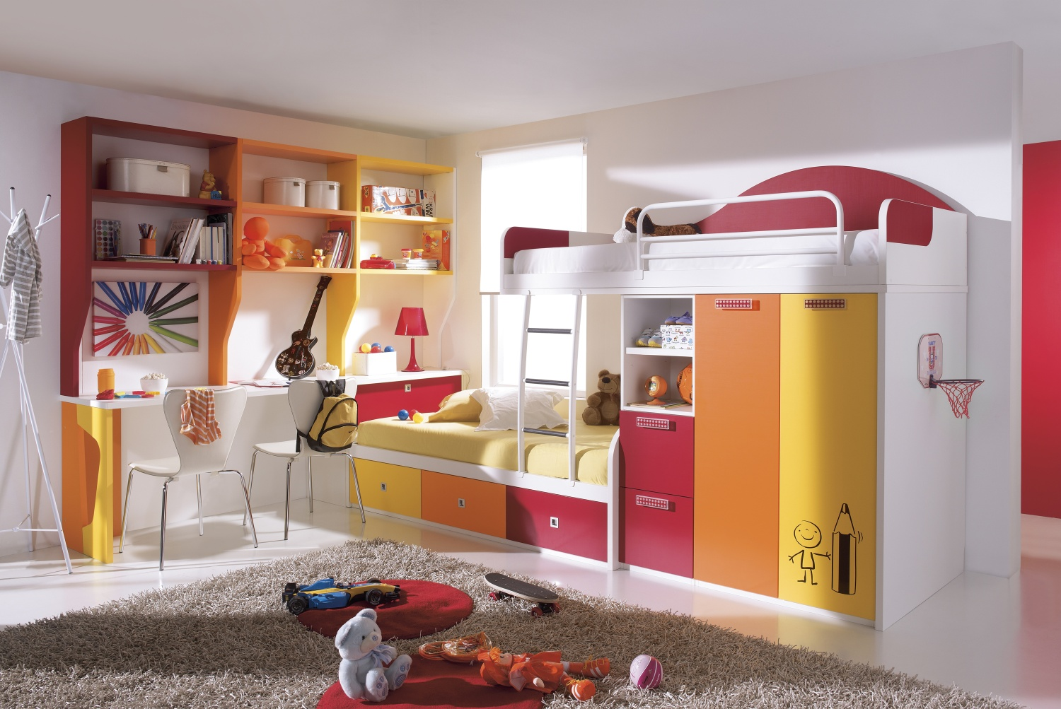 Combine Various Colors Theme in Modern Kids Bedroom using Interesting Bunk Bed with Desk and Floating Shelves