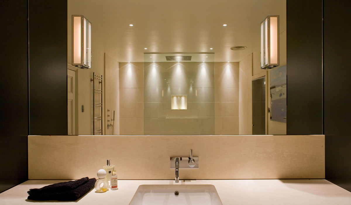 Combining Ambient and Decorative Lamps for Bathroom Lighting Ideas in Neutral Tone