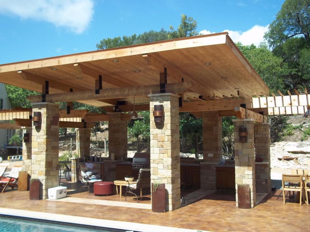 Bon Comfy Outdoor Patio With Kitchen And Lounge Facing Outdoor Swimming Pool