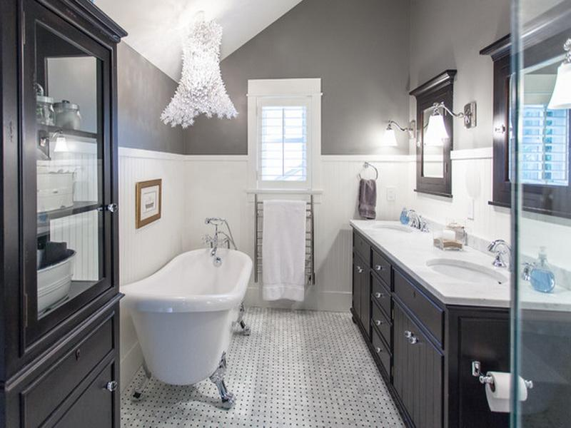 Common Yet Stunning Coloring Scheme for Bathroom Remodeling with Grey, Black and White Colors