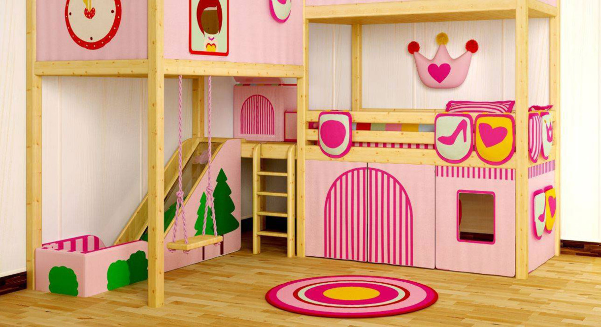 Wonderful Complete Bunk Beds For Girls With Pink Slide And Swing Inside Fun Girl  Bedroom With Round Design Ideas
