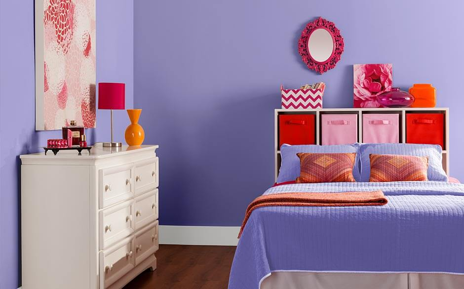 Complete Lovely Bedroom with Purple Bedroom Paint Colors near White Dresser and Shelves