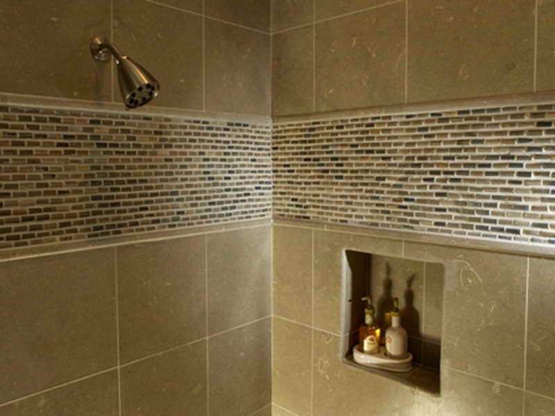 Complete Shower Area with Small Wall Shelf and Natural Shower Tile Ideas near Glossy Faucet