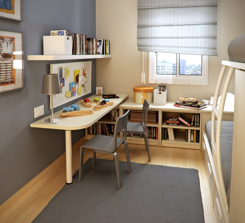Complete Small Room Ideas with White Table and Tidy Bookshelves on Laminate Hardwood Flooring