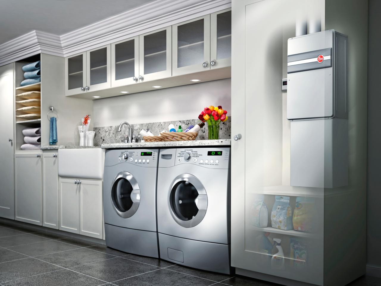 Complete Stylish Laundry Room Ideas with Grey Washing Machines and White Farmhouse Sink