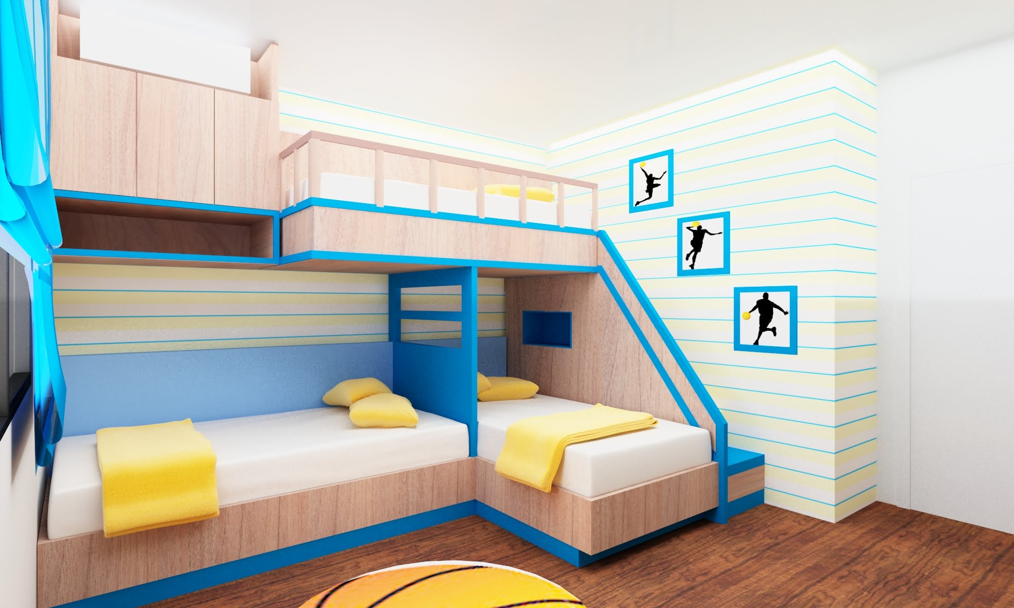 Complete Wonderful Bedroom with Fascinating Toddler Bunk Beds and Blue Curtain above Laminate Oak Flooring