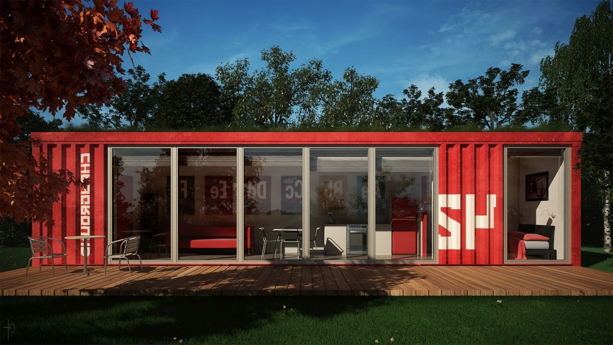 Completing Red Storage Container Homes with Glass Sliding Door and Wooden Deck near Grass Yard