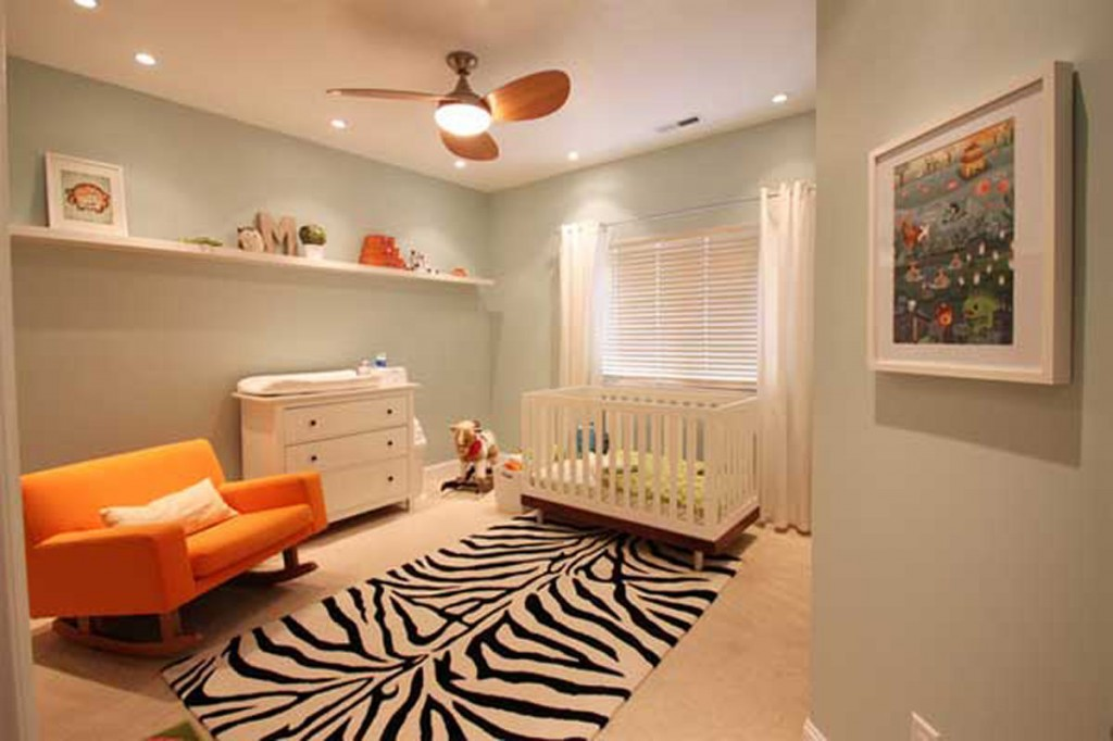 Contemporary Baby Nursery Ideas Interior With Accent Orange Loveseat To  Meet White Furniture