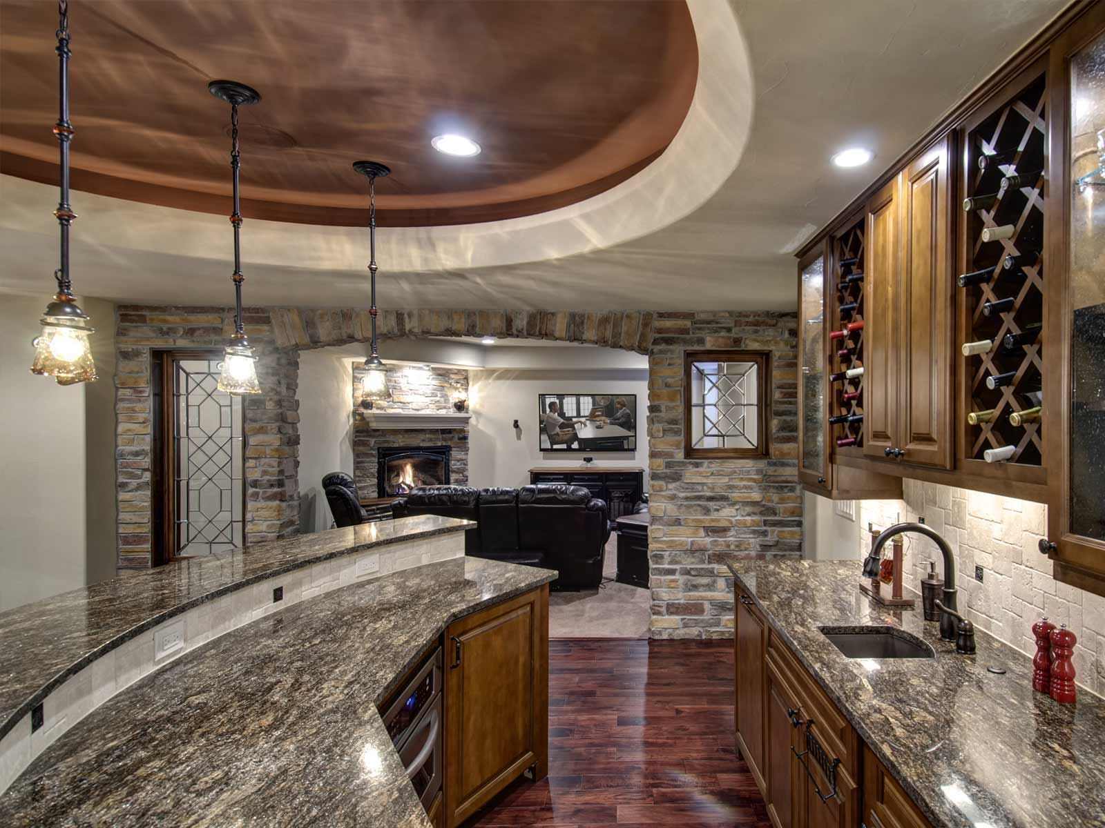 Contemporary Basement Bar Ideas With Bold Natural Accents Of Stone Wall And  Granite Countertop