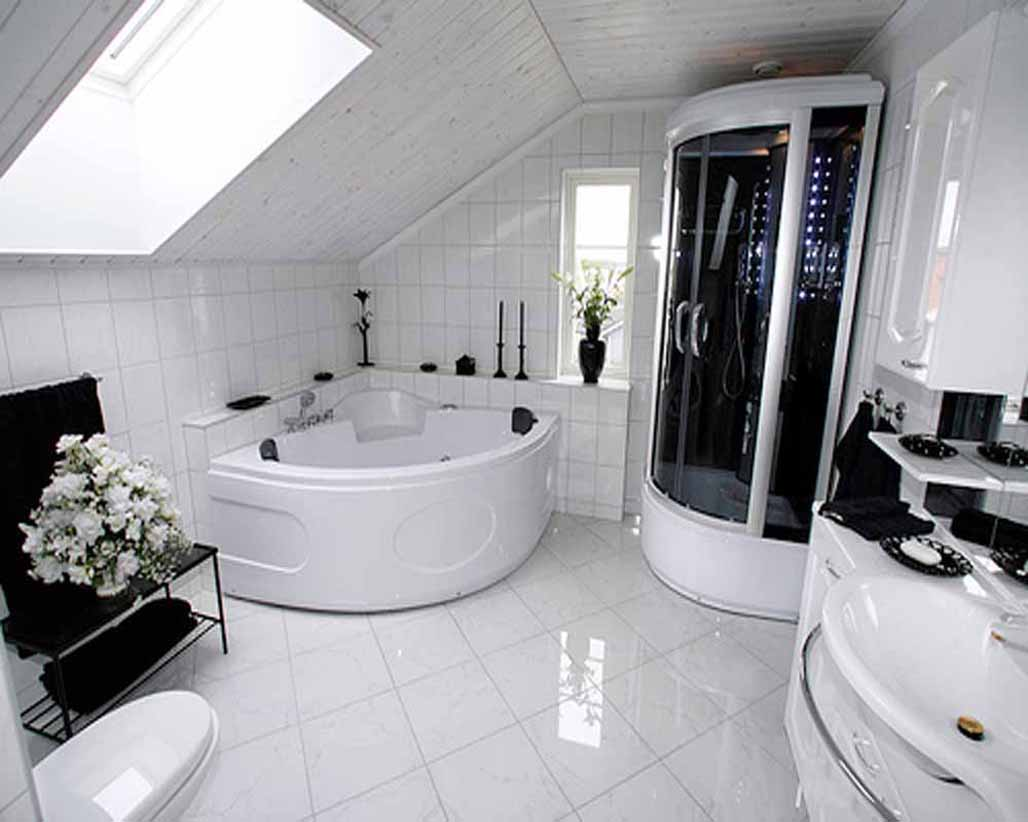 Contemporary Bathroom Design Ideas with White Corner Bathtub and Closed Shower Area under Wooden Ceiling