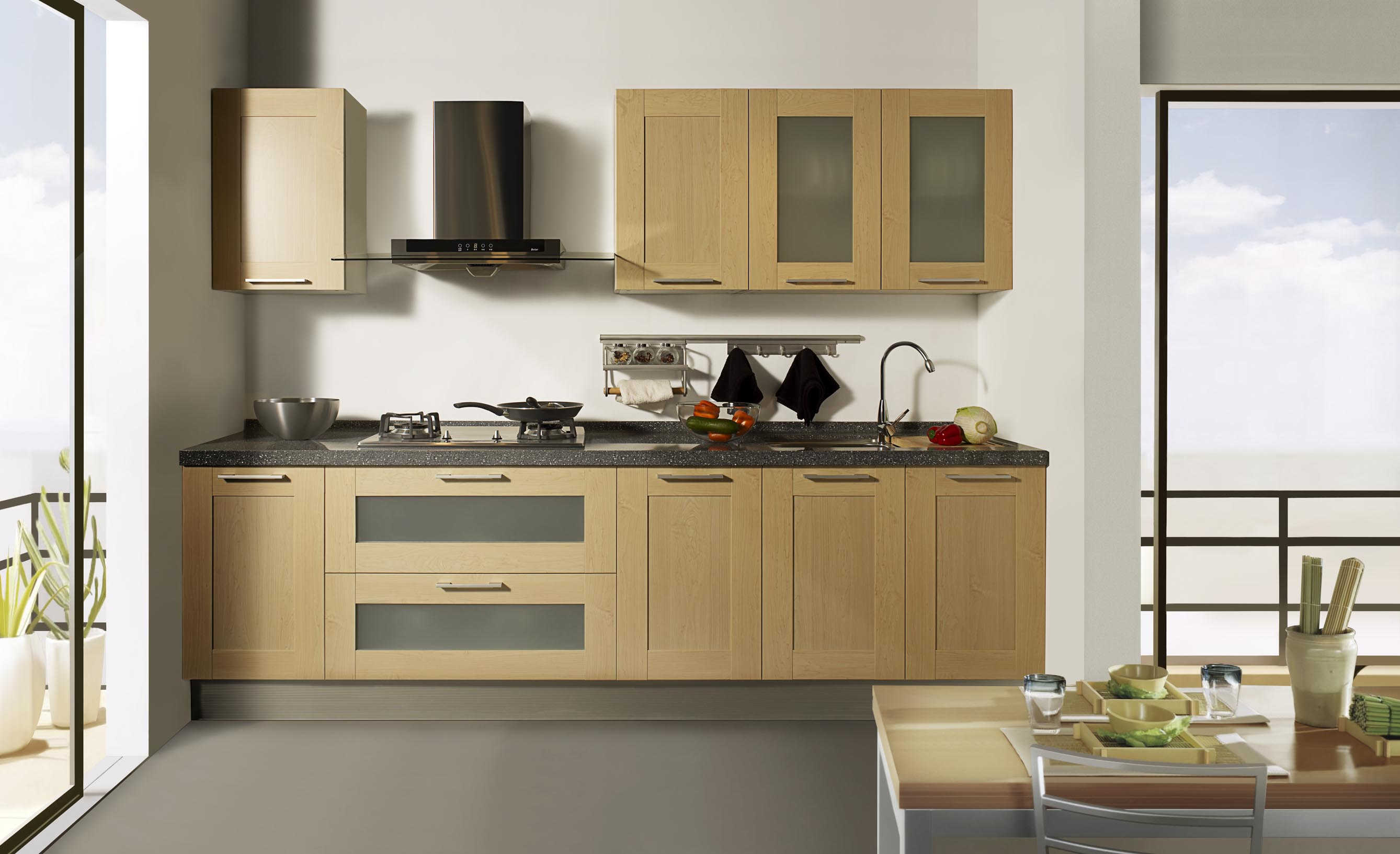Contemporary DIY Kitchen Cabinet Made from Wood and Simple Dining Table with Chairs