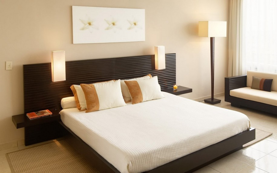 Contemporary Floating Bed with Built in Headboard and Floating Side Tables