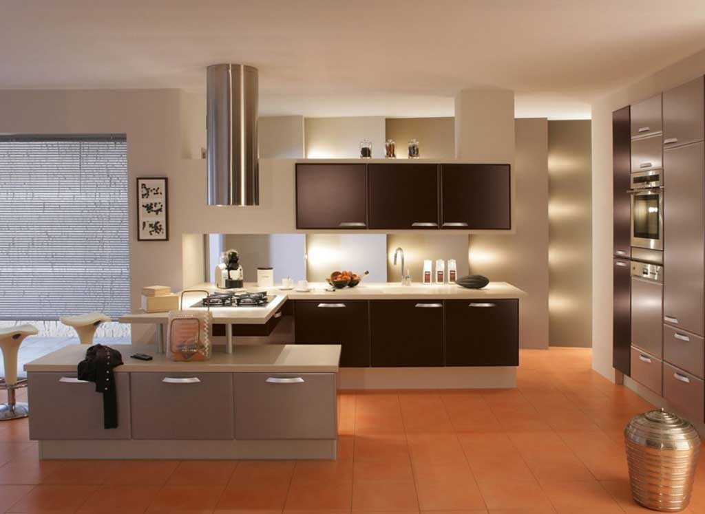 Contemporary Small Kitchen Remodel with Grey and Black Colors Supported by Decorative Lighting