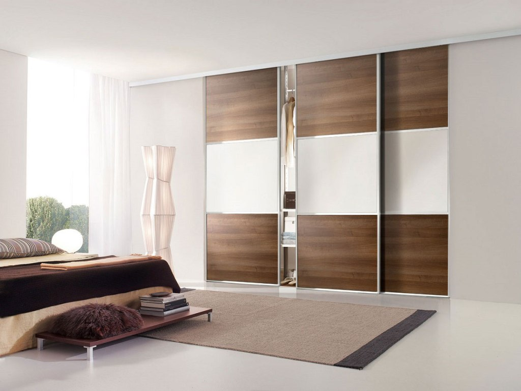 Contemporary Style Closet Door In Sliding Design Made From Wood And Glass