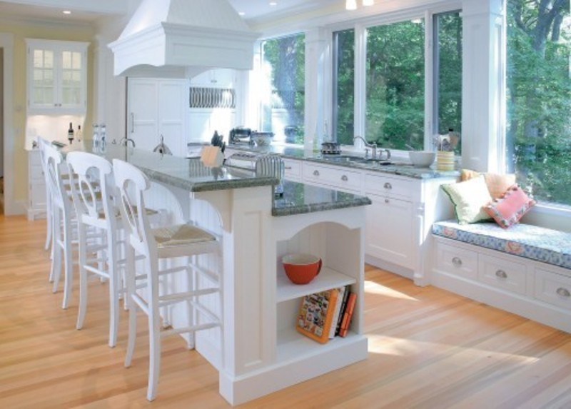 cozy bay seats window and white kitchen island with seating completing old fashioned kitchen