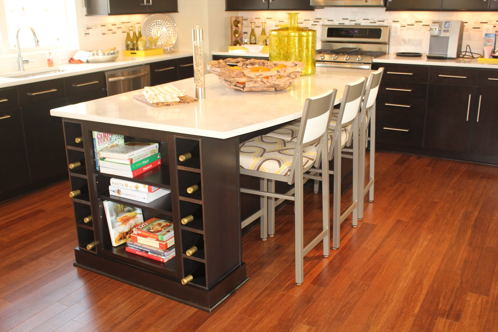 Cozy Grey Stools and Kitchen Island Table with Wine Racks Completing Impressive Kitchen with Hardwood Flooring