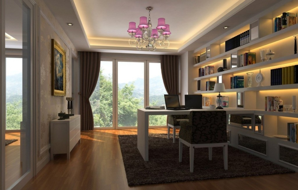 Delicieux Cozy Home Office Interior Design With Soothing Lighting And Ample Windows  With Outside View