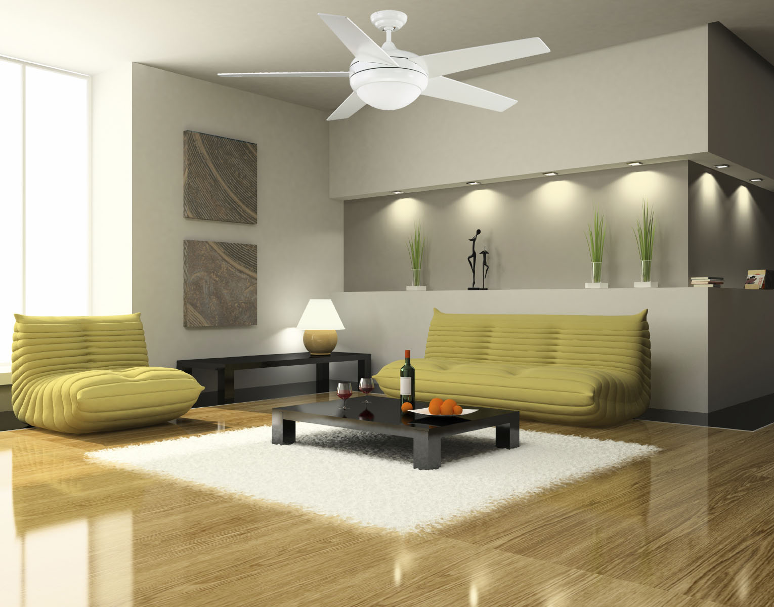 Cozy Togo Sofas and Low Black Coffee Table in Open Sitting Room with Modern Ceiling Fans