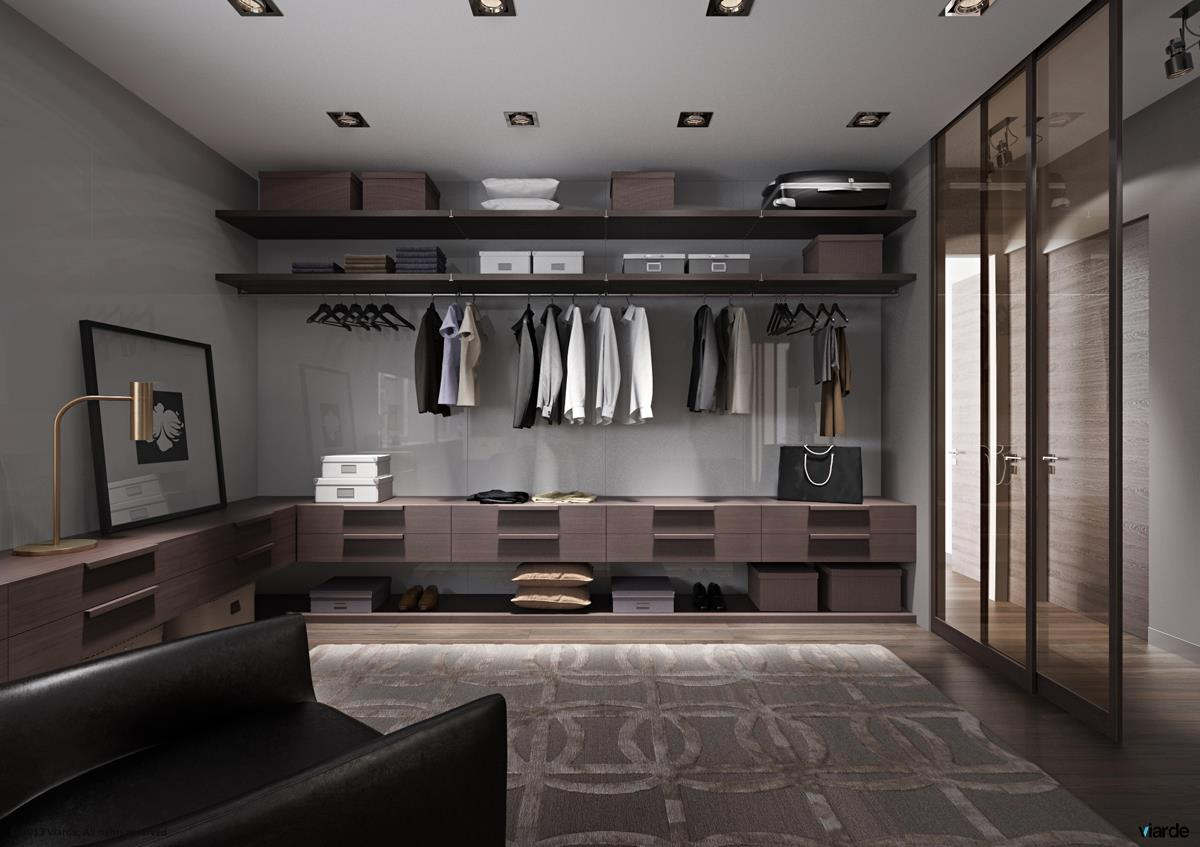 Cozy Walk in Closet Idea with Transparent Doors and Decorated with Patterned Rug