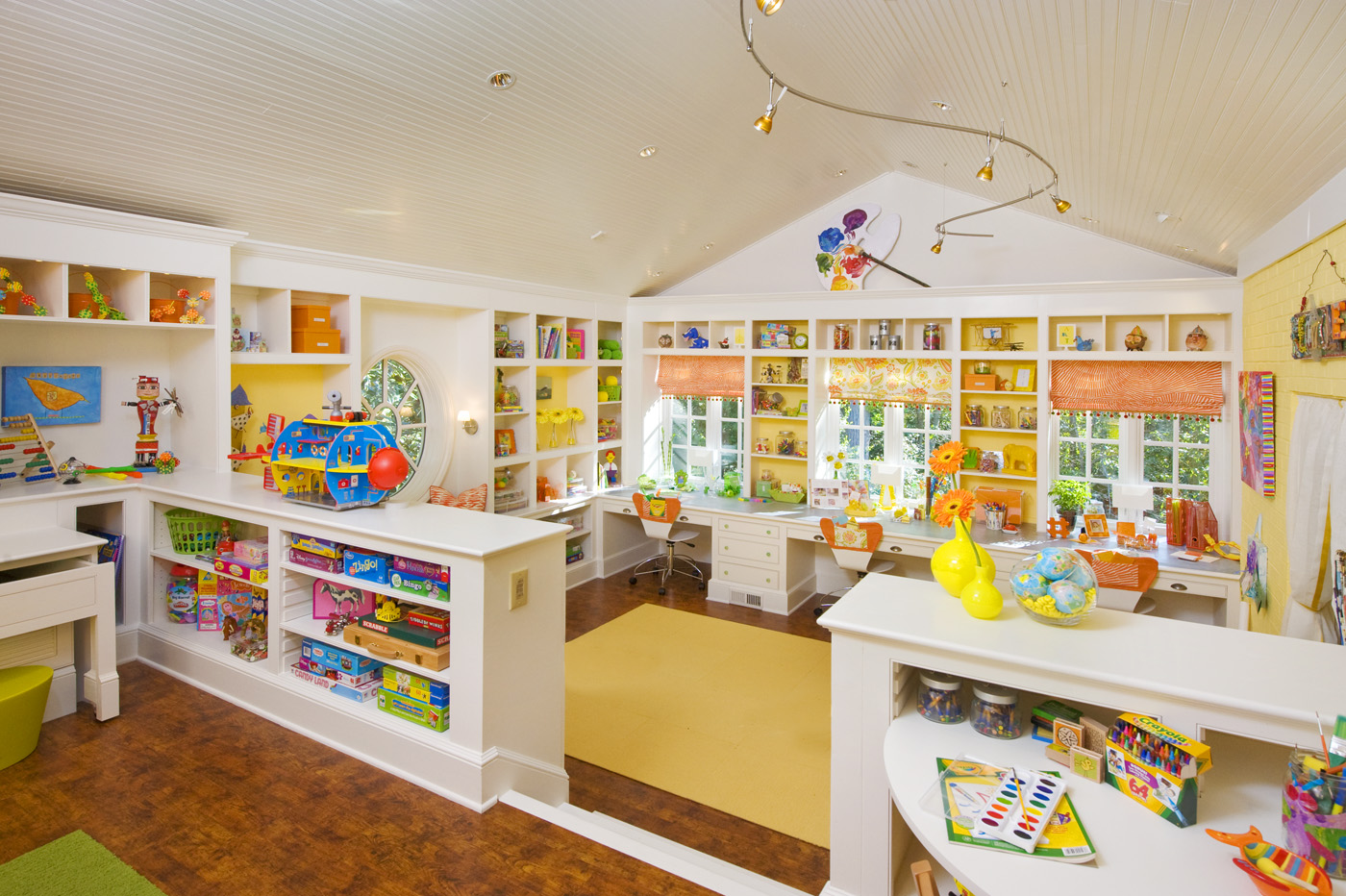 Craft Room Ideas for Kids with Raised Ceiling and Yellow and White Color Scheme