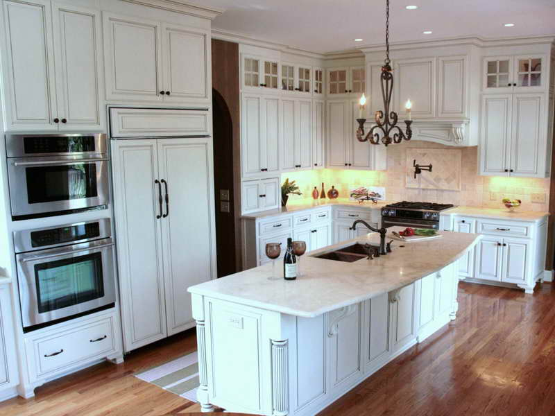 Creative Additional Decorative Lights Under Cabinet for Small Kitchen Remodel with White Furniture
