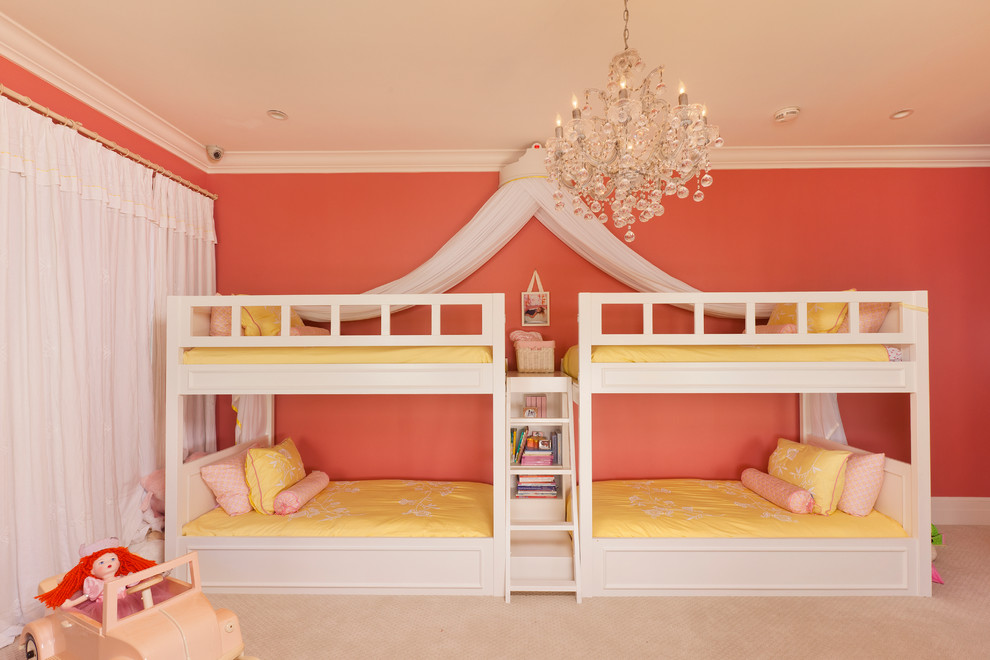 Crystal Chandelier Installed inside Spacious Bedroom with White Bunk Beds for Girls and Yellow Bedding