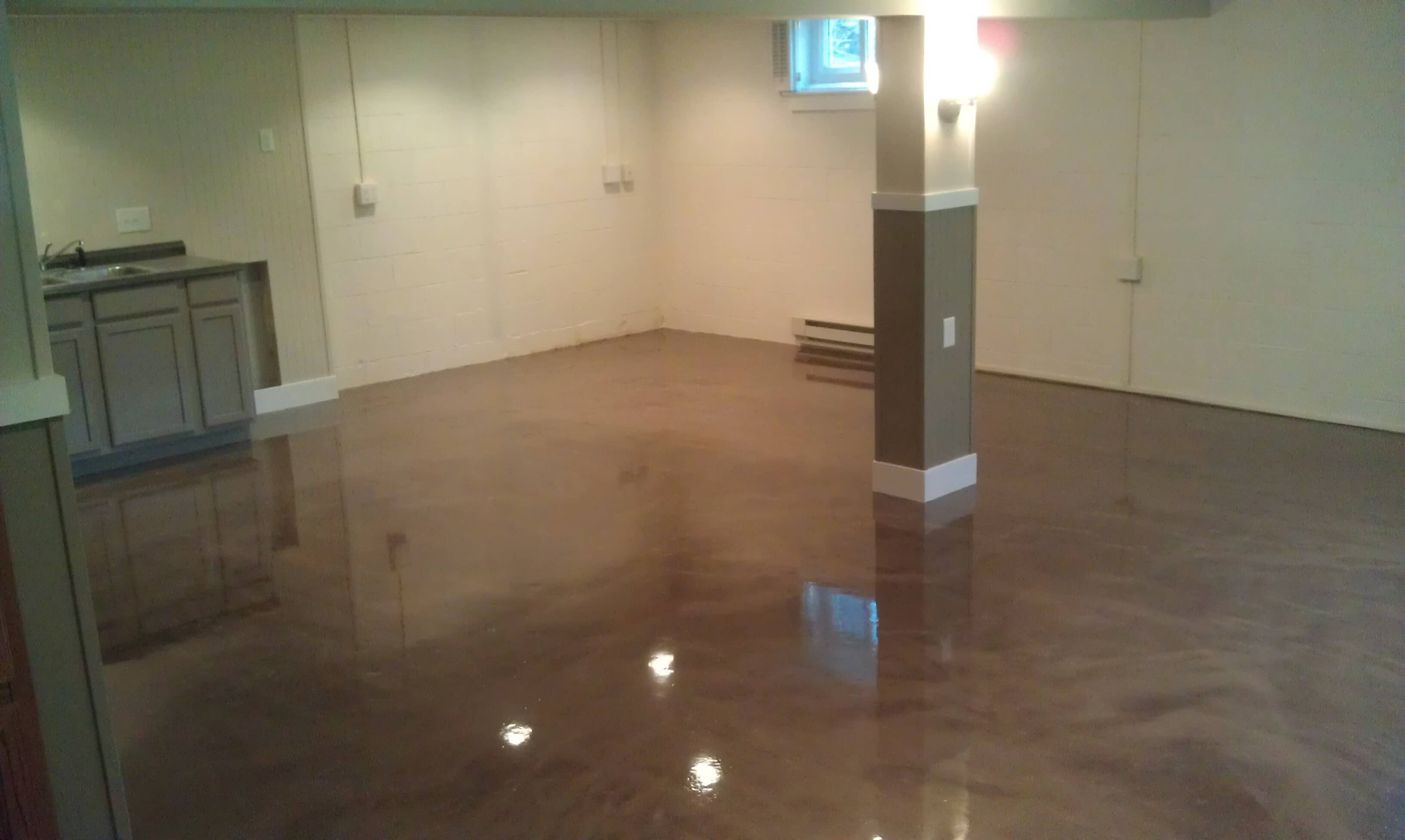 Gentil Dark Brown Basement Flooring With Glossy Finishing To Meet Earthy Tone  Interior