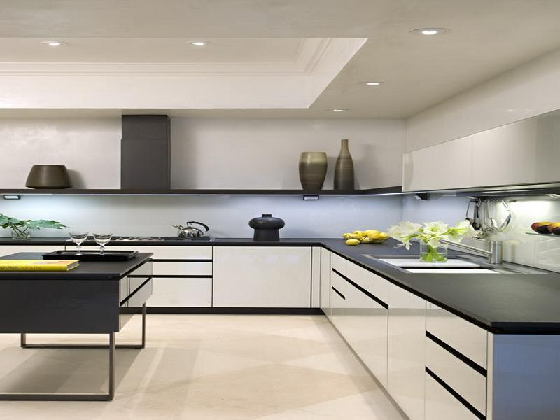 Dark Island and Modern White Kitchen Cabinets on Stone Tile Flooring Completing Fantastic Kitchen
