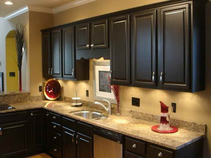 Kitchen customization painted kitchen cabinets midcityeast for Dark brown painted kitchen cabinets