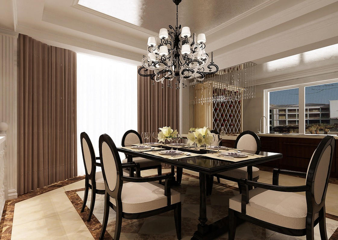 Decorating Formal Dining Area With Laminate Dark Table And Cozy Chairs  Under Elegant Dining Room Chandeliers