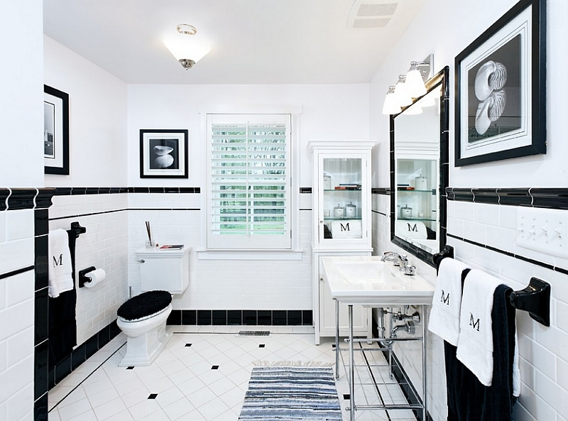 Decorative Black Touches On White Subway Tile For Wall To Complete Bathroom  Interior