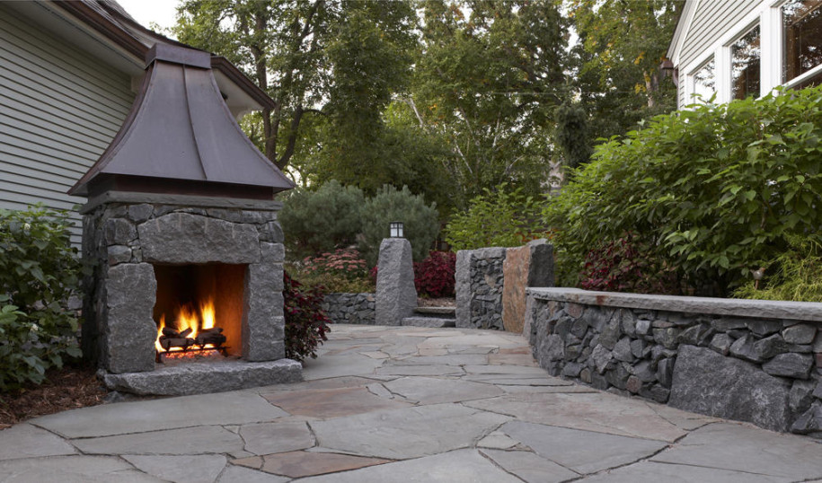 Decorative Stone Fireplace Plan with Hood to Complete Outdoor Area with Warmth