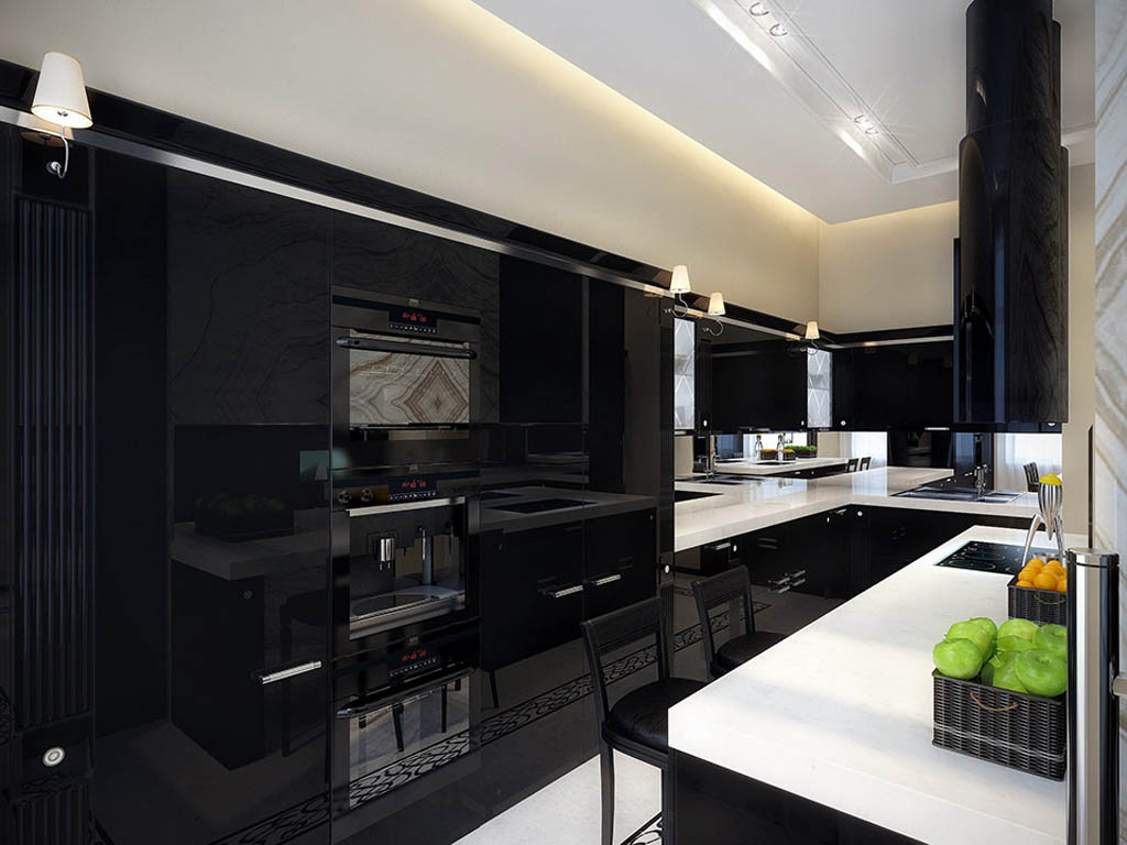 Deluxe Black L Shaped Kitchen Cabinets In Glossy Finishing To Complete  Narrow Kitchen