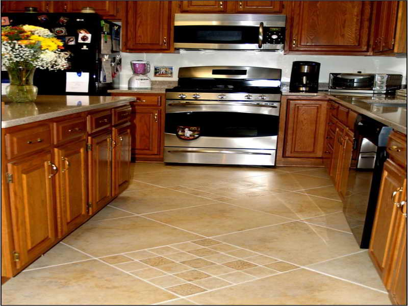 Diagonally Installed Tile for Flooring with Unique Patterns to Meet Wooden Kitchen Cabinets