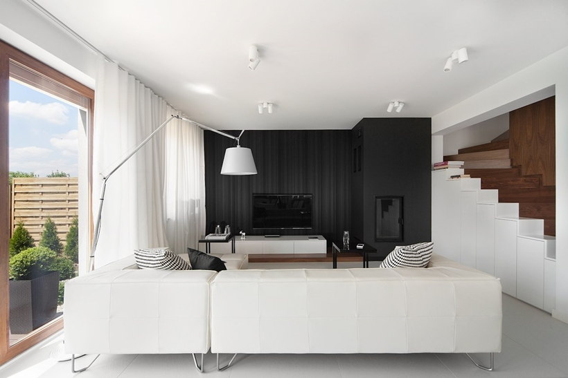Dominating White Coloring and Black Accent of Contemporary Living Room Interior Design