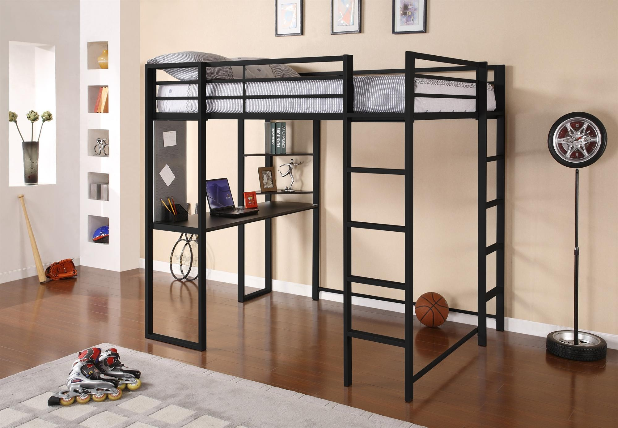 Double Ladder for Dark Metal Bunk Bed with Desk in Fun Boys Bedroom with Grey Carpet