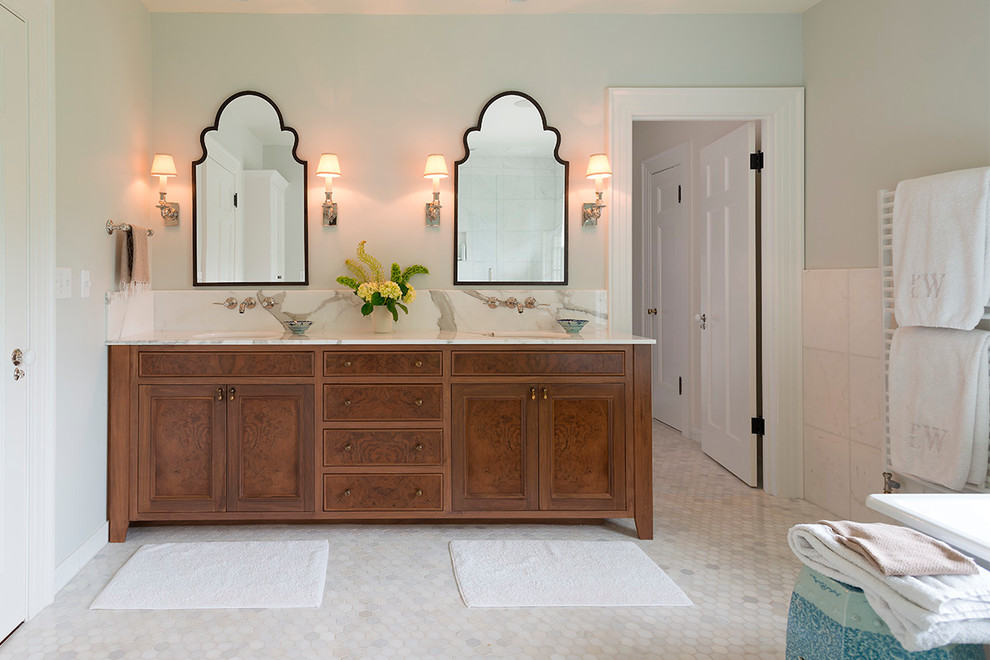 Double Mirrors With Two Sconces For Each To Complete Long Bathroom Vanity With Double Sinks