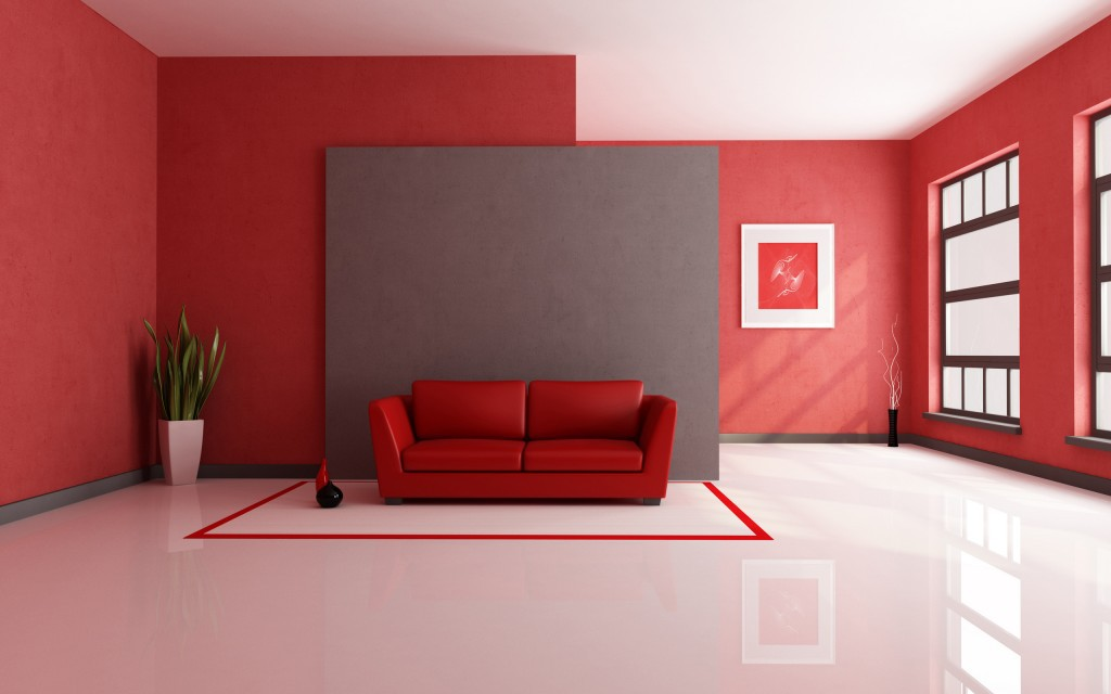 Dramatic Home Interior Design with Red and Dark Grey Color Scheme for Minimalist Living Room