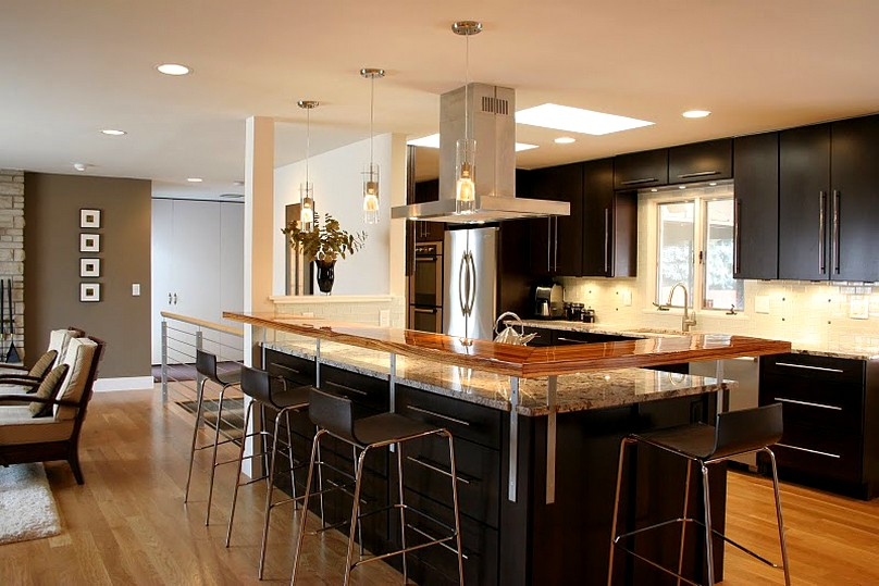Easy Access Concept of Kitchen Floor Plans with Stools and Living Space