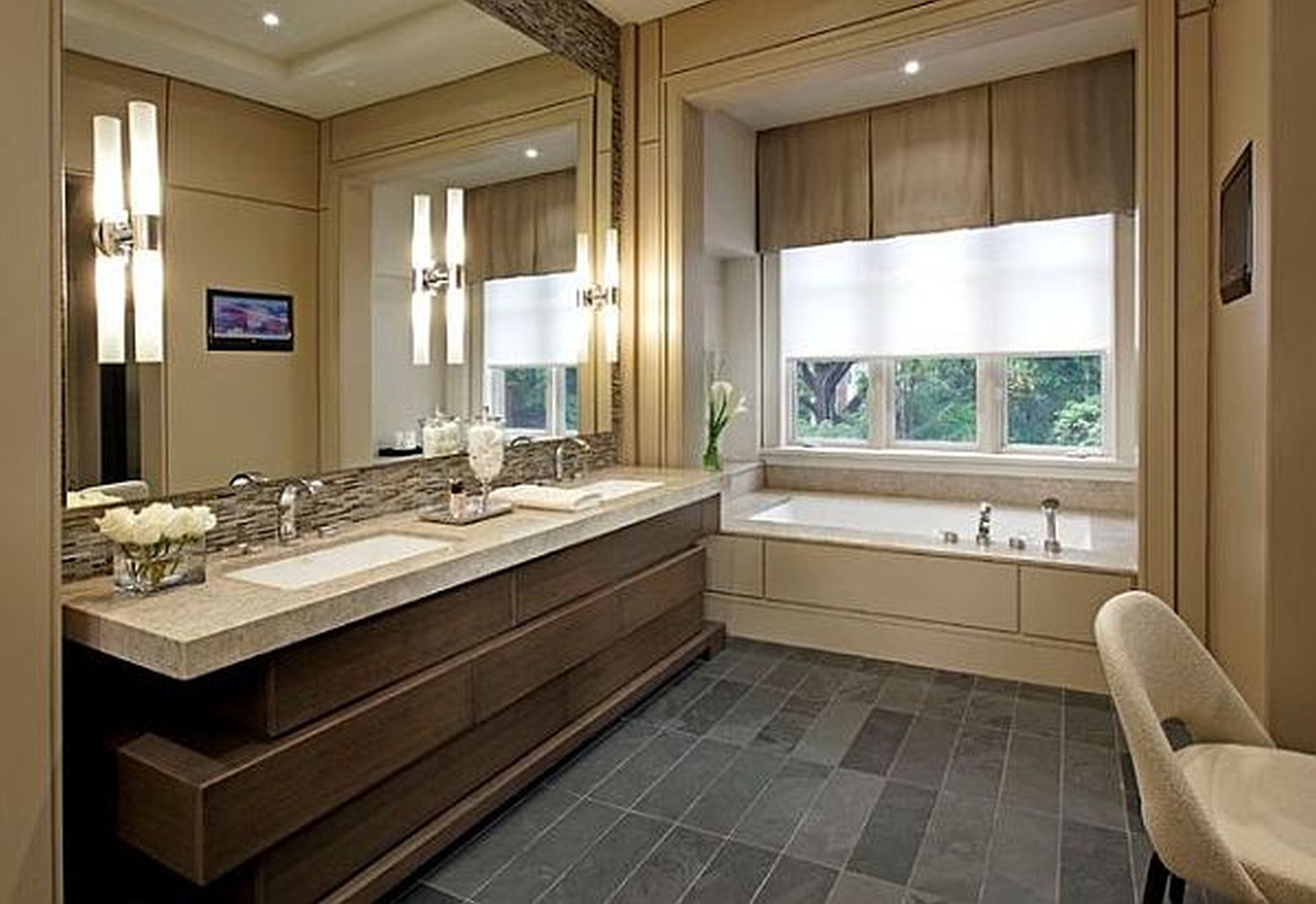 Effective Apartment Bathroom Decorated with Beautiful White Flowers on Vanity