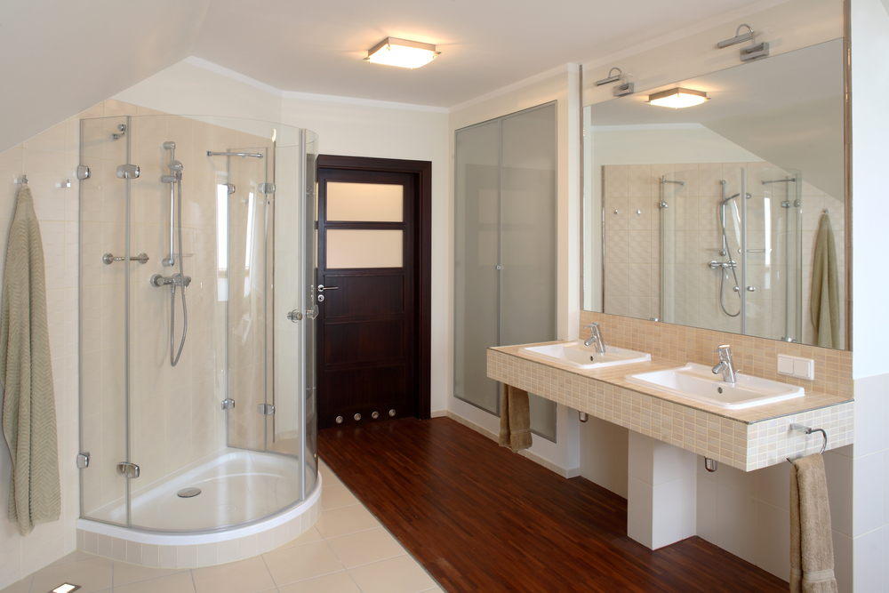 Effective Bathroom Remodeling Ideas with New Layout with Corner Shower and Floating Vanity