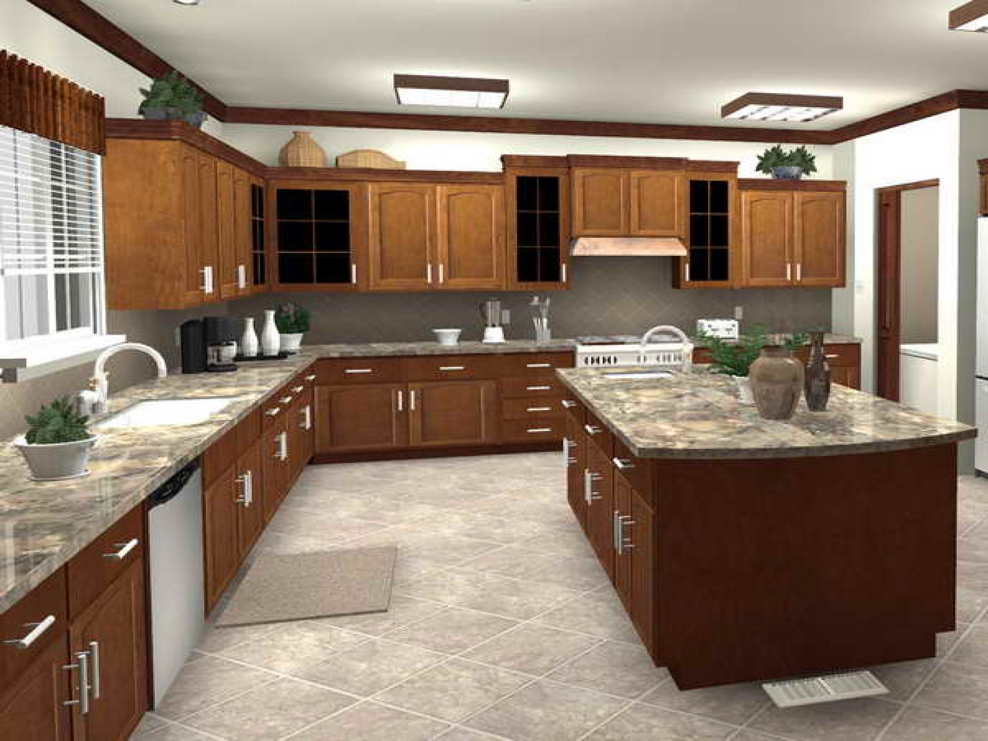 Effective Kitchen Floor Plan with L Shaped Cabinets with Island Connected to Other Rooms