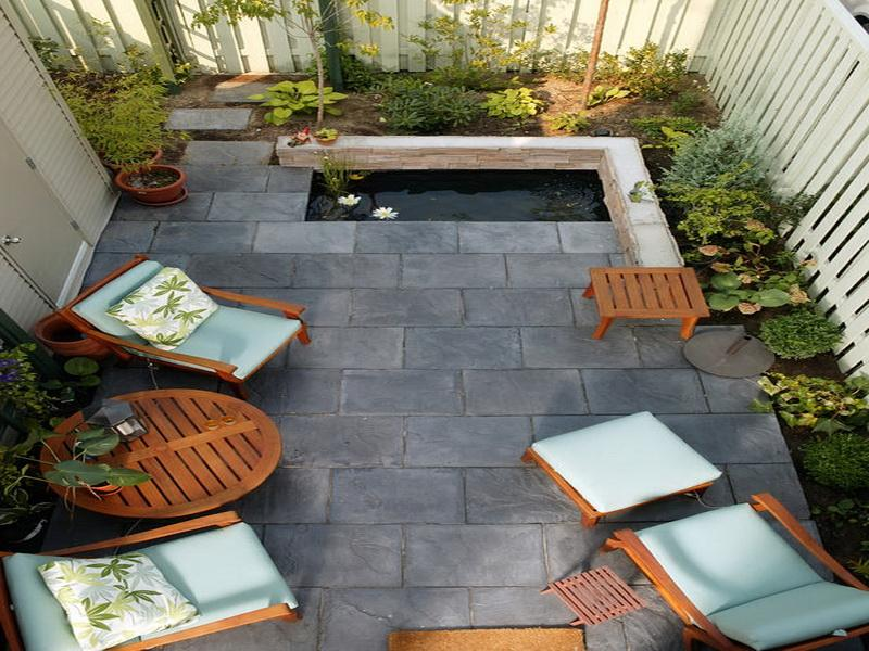 Effective Small Patio Ideas with Small Pond and Landscaping Furnished with Wooden Seating