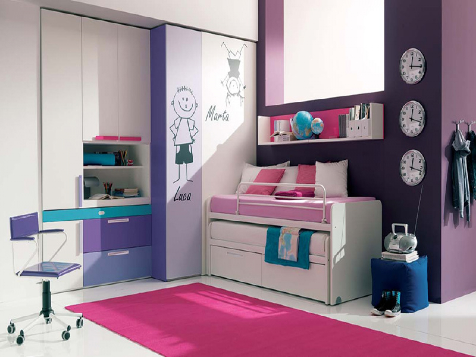 Effective Small Teen Bedroom Ideas for Two with Interesting Purple and Pink Color Scheme