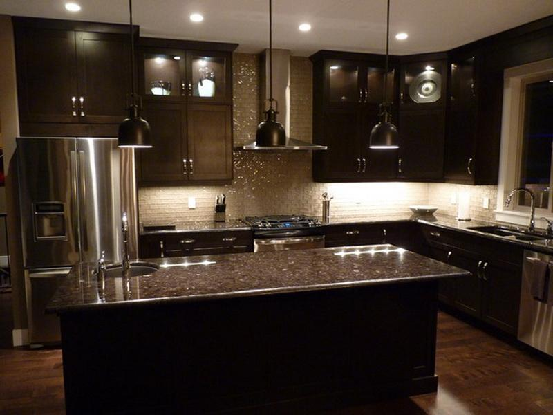 Elegant Black Kitchen Cabinet and Island Decorated with Small Tiled Backsplash with Lighting
